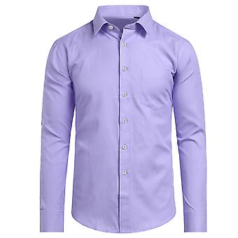 Yunyun Men's Lapel Solid Color Business Long-sleeved Shirt