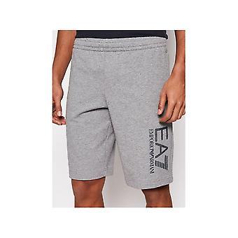 Emporio Armani EA7 Cotton Graphic Hex Logo Grey Shorts