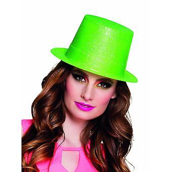 Volwassen neon groene hoge hoed met pailletten