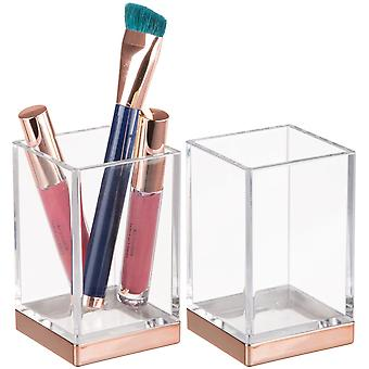 mDesign Square Tumbler Cup for Mouthwash, Makeup Brushes, 2 Pack