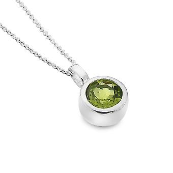 Sterling Silver Pendant Necklace - Origins Round Faceted Peridot