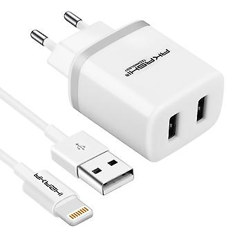 2-Port USB 2.1A Power Charger + 1m Apple Lightning Cable - Akashi- white