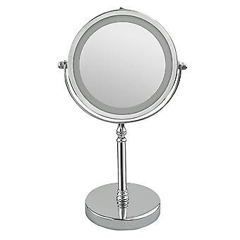 7 Inch Swivel Vanity Mirror Double Sided Makeup Mirror Metal Led 10x Magnification Mirror Without Battery (silver)