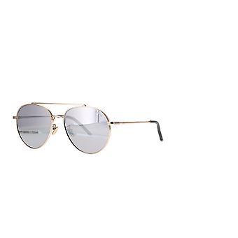 Mulberry Tony Pilot SML009 300X Total Shiny Rose Gold/Smoke Mirror Silver Sunglasses
