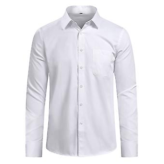 Yunyun Men's Lapel Solid Color Formal Business Slim Long-sleeved Shirt Without Pockets