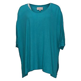 Laurie Felt Women's Top Ribbed Knit Pullover Blue A392627