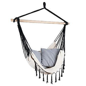Krzesło wiszące 100x130 cm z 2 poduszkami - Czarne liny