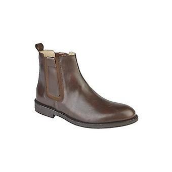 TredFlex Milo Mens Leather Chelsea Boots Dark Brown