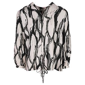 Crea Concept Black & Taupe 3/4 Sleeve Open V-neck Silk Blouse
