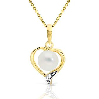 Planetys - Necklace with heart in yellow 9 carat gold (375/1000), with cultivated pearls and diamonds, length 42-45 cm