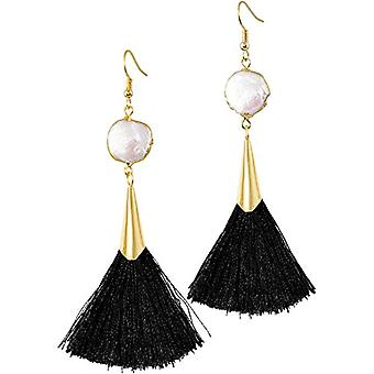 KYEYGWO - Women's pendant earrings, bohemian style, with tassel, vintage style, with white shell and gold plated, color: Ref. 0715444118333