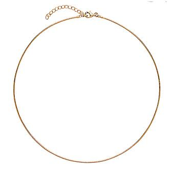 """Jewelco London Ladies Yellow Gold-plated Sterling Silver # Snake Omega Chain Choker Collarette Necklace 1.3mm 14-16"""""""