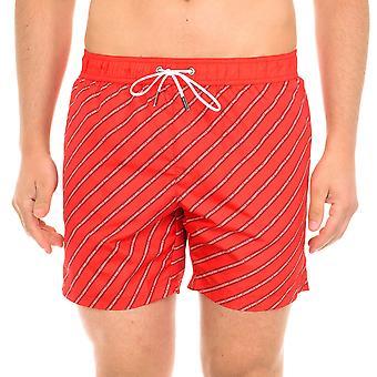 Karl Lagerfeld Hombres Diagonal Logo Swimshorts Rojo