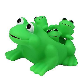 4Pcs zielony 4szt wyciskanie dźwięk zabawki żaby winylowe zestaw zabawek wanna prysznic zabawki dla dzieci (1pc monther 3pcs małe żaby zielone) dt2712