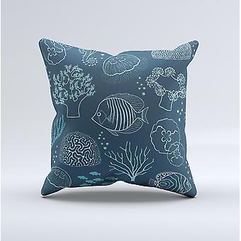 Dark Teal Sea Creature Icons Ink-fuzed Decorative Throw Pillow