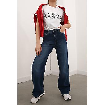 Wide Leg Cotton Denim Pants