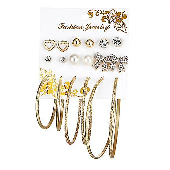 9 Pairs Ear Studs Set Bow Heart Big Circle Earrings For Festival