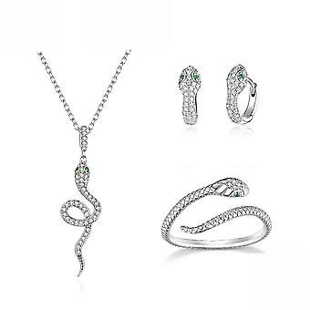Snake Sterling Silver Set S925 Snake Earrings Ring Necklace Silver For Exhibition