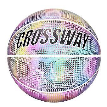 Reflekterende glødende holografiske lysende kurv bold for night game (farverige)