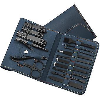16pcs/set Nail Cutter Set Nail Clipper Folding Bag Stainless Steel Cutter Tool Finger (Blue)