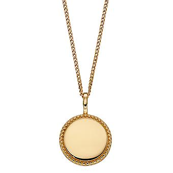 Beginnings 925 Sterling Silver Womens Gold Plated Engravable Round Disc Pendant with Millegrain Textured Edge Necklace Length 41cm + 5cm