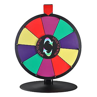 """WinSpin 15"""" 10 Slot Heavy Duty Tabletop Color Dry Erase board Prize Wheel Metal Stand Fortune Spinning Game Tradeshow"""