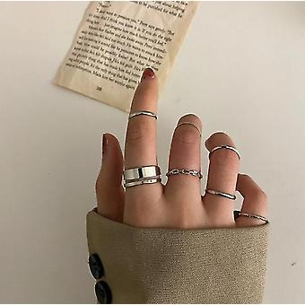 Gold Knuckle Rings Set For Women Snake Chain Stacking Ring Vintage Ring(Silver)