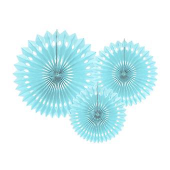 3 Light Sky Blue Assorted Size Hanging Tissue Paper Fans