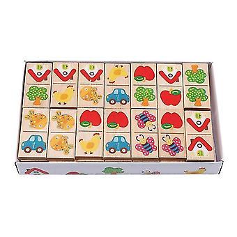 Træ Tegneserie Frugt Animal Domino Puslespil Børns læring og pædagogiske pædagogiske legetøj