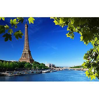 Torre Eiffel mural de papel de parede e folhas verdes