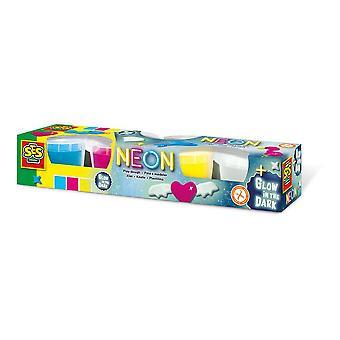 Children's Modelling Dough Neon and Glow-in-the-Dark Set, 4 Pots (90g)