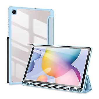 Case For Samsung Galaxy Tab S6 Lite,folio Trifold Stand Smart Cover With Detachable Slim Hard Shell Transparent Back Cover - Blue
