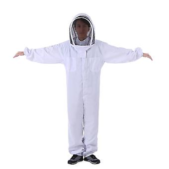Beekeeper Pure Cotton Thickened One-piece Full Set Of Anti-bee Protective Clothing (white Xxl)