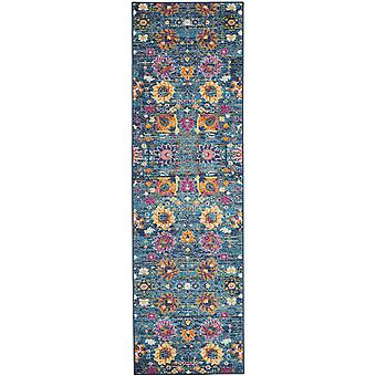 2' x 8' Denim Blue Florals Distressed Runner Teppich