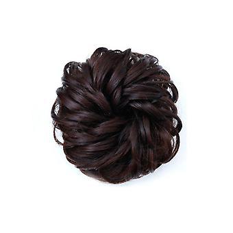 4 Stk Syntetiske Falske Hair Bun Chignons for voksne kvinder Elastiske Scrunchies Hår Piece Bun Hair Tail