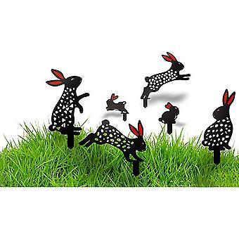 6pcs Realistische Kaninchen Garten Rasen Boden Dekoration Kaninchen Hof Kunst Tier Silhouette Garten Hohle Kaninchen Statue Dekor für Hof (Kaninchen)