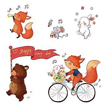 happy fox vegg klistremerke hjem dekal (størrelse: 51cm x 49cm)
