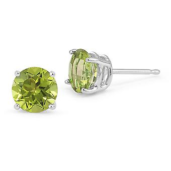 Peridot Ohrstecker, 14K White Gold