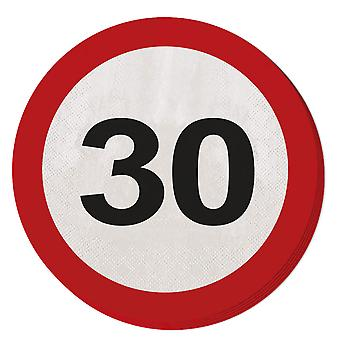 Napkin traffic sign number 30 20 St. sign birthday party