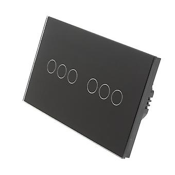 I LumoS Black Glass Double Panel 6 Gang 2 Way Touch LED Light Switch
