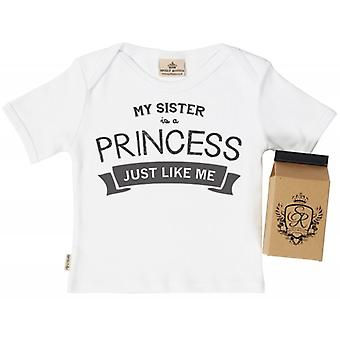 Spoilt Rotten My Sister's A Princess Babys T-Shirt 100% Organic In Milk Carton