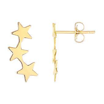 14K geel gouden 3 sterren klimmer Stud Oorbellen