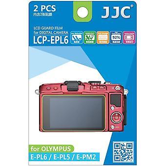 JJC Guard Film Crystal Clear Displayschutzfolie für Olympus Pen E-PL5, E-PL6, E-PM2 - kein Schneiden (2 Film-Pack)