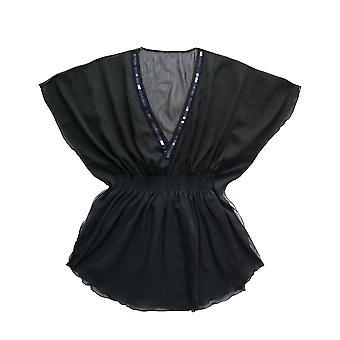 Marie Meili Malibu Black Sequin Chiffon Kaftan MMS15S0471