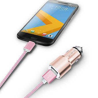 (Rose Gold) Dual Port Aluminium Car Charger Adaptor (3.1A/24W) & 1 Meter Micro-USB Data Cable For Blu Dash L3