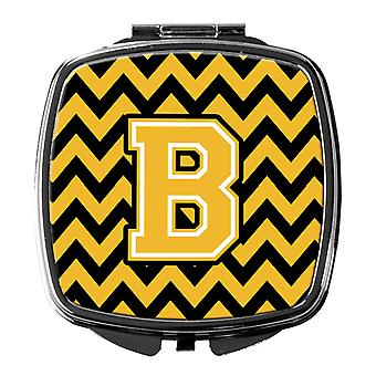 Carolines Treasures  CJ1053-BSCM Letter B Chevron Black and Gold Compact Mirror