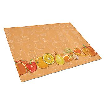 Fruits and Vegetables in Orange Glass Cutting Board Large