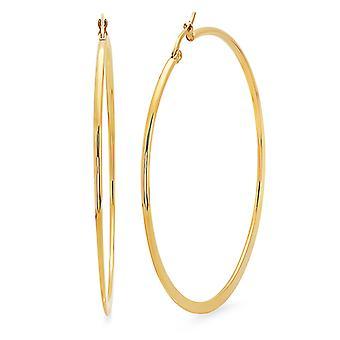 Ladies 18K Gold Plated Stainless Steel 60mm Hoop Earrings