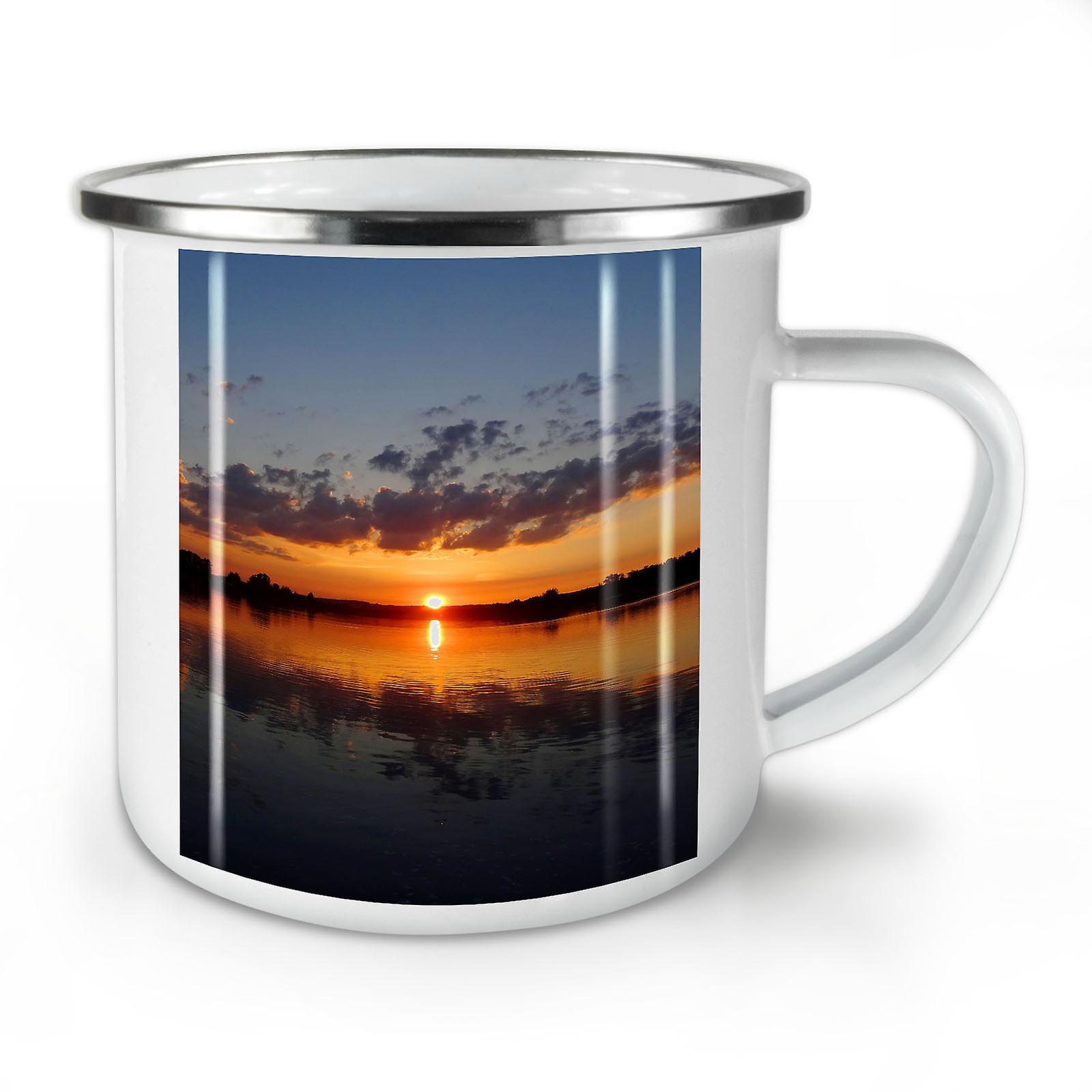 Sonnenuntergang See Foto Natur neu WhiteTea Kaffee Emaille Mug10 oz | Wellcoda