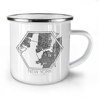 New York City Map NEW WhiteTea Coffee Enamel Mug10 oz | Wellcoda
